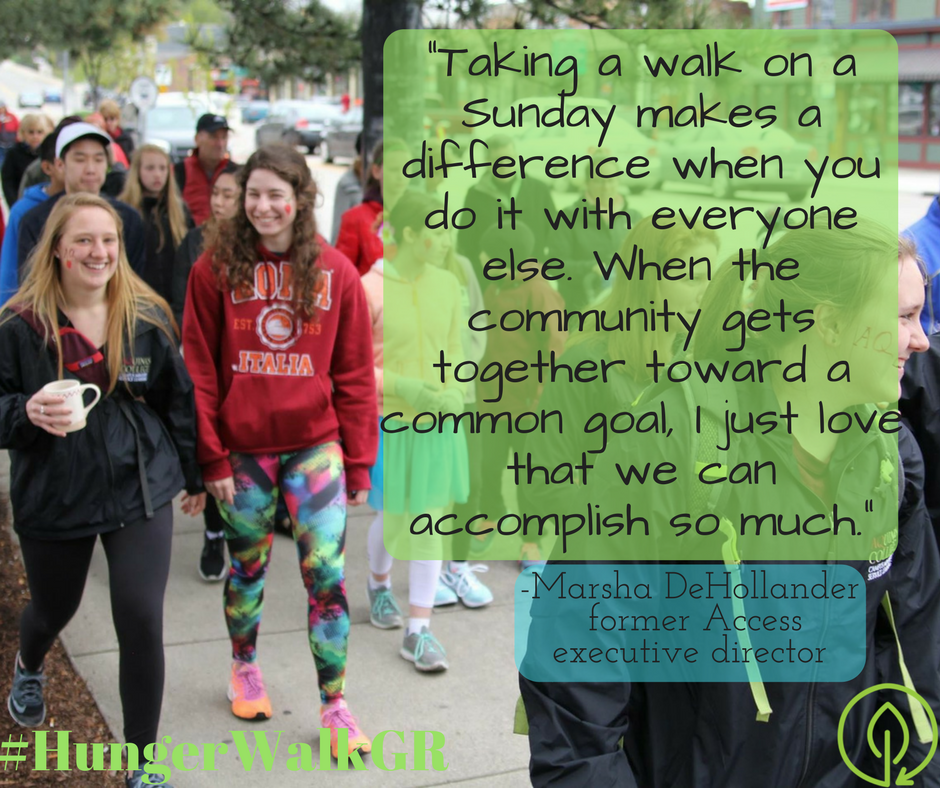 """Taking a walk on a Sunday makes a difference when you do it with everyone else. When the community gets together toward a common goal, I just love that we can accomplish so much."""